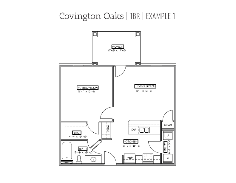 Covington Oaks 1 BR floor plan