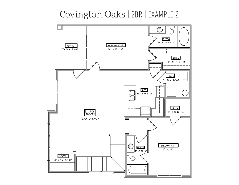 Covington Oaks 2 BR floor plan
